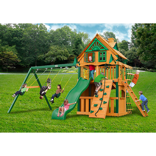 Gorilla Playsets Chateau Clubhouse Treehouse with Background