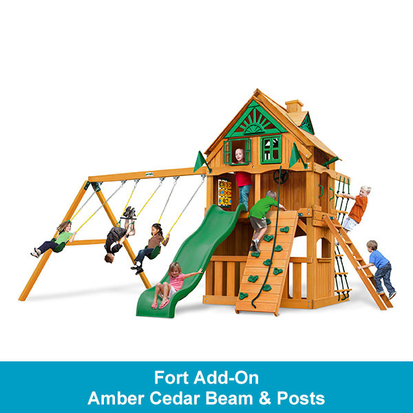 Gorilla Playsets Chateau Clubhouse Treehouse with Fort Add-On - Amber Cedar Beam & Posts
