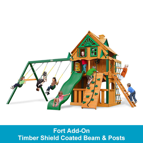 Gorilla Playsets Chateau Clubhouse Treehouse with Fort Add-On - Timber Shield Beam & Posts