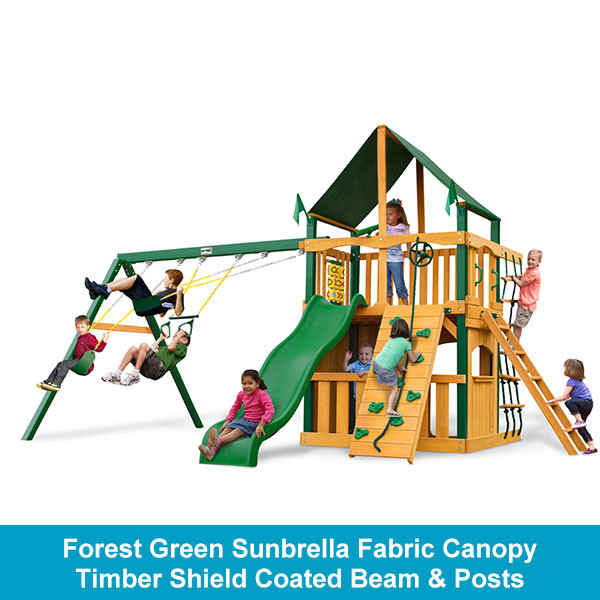 Forest Green Sunbrella Fabric Canopy - Timber Shield Coated Beam & Posts