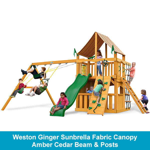 Weston Ginger Sunbrella Fabric Canopy - Amber Cedar Beam & Posts