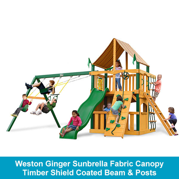 Weston Ginger Sunbrella Fabric Canopy - Timber Shield Coated Beam & Posts