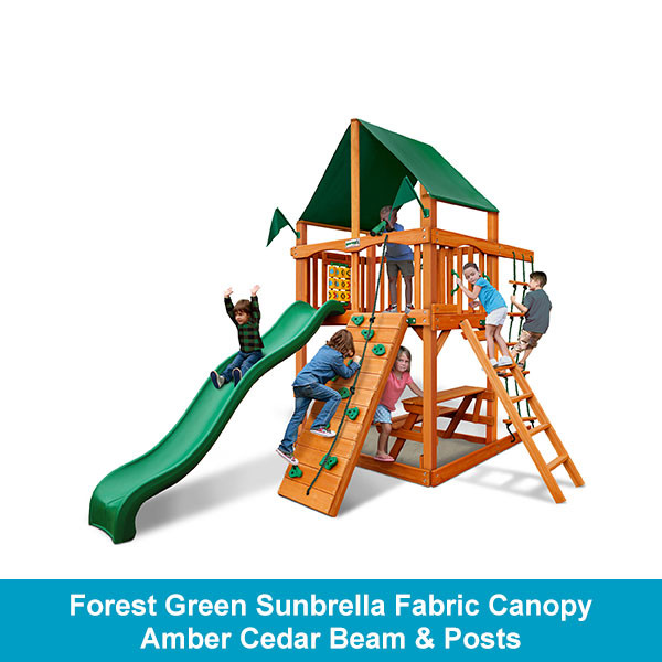 Gorilla Playsets Chateau Tower Forest Green Sunbrella Fabric Canopy - Amber Cedar Beam & Posts