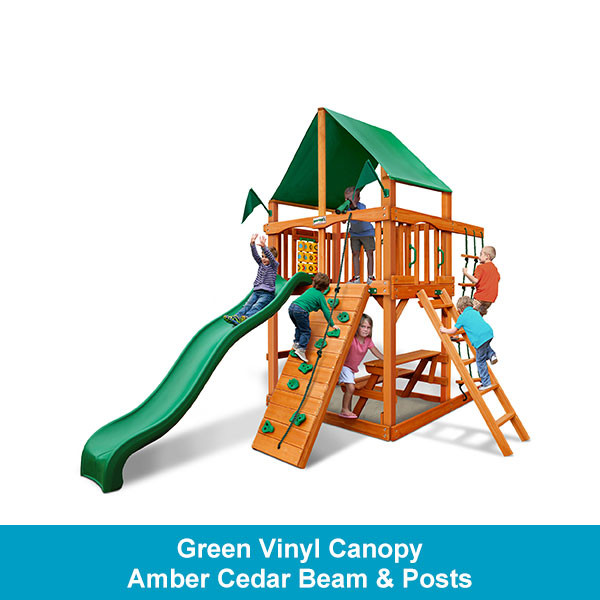 Gorilla Playsets Chateau Tower Green Vinyl Canopy - Amber Cedar Beam & Posts