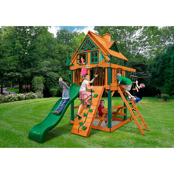 Gorilla Playsets Chateau Tower Treehouse with Background