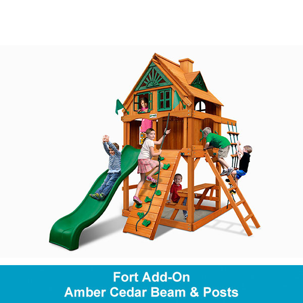 Gorilla Playsets Chateau Tower Treehouse with Fort Add-On - Amber Cedar Beam & Posts