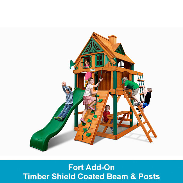 Gorilla Playsets Chateau Tower Treehouse with Fort Add-On - Timber Shield Beam & Posts