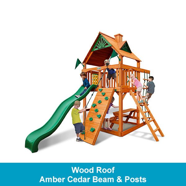 Gorilla Playsets Chateau Tower Wood Roof - Amber Cedar Beam & Posts