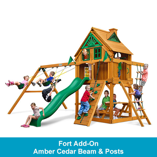 Gorilla Playsets Chateau Treehouse with Fort Add-On - Amber Cedar Beam & Posts