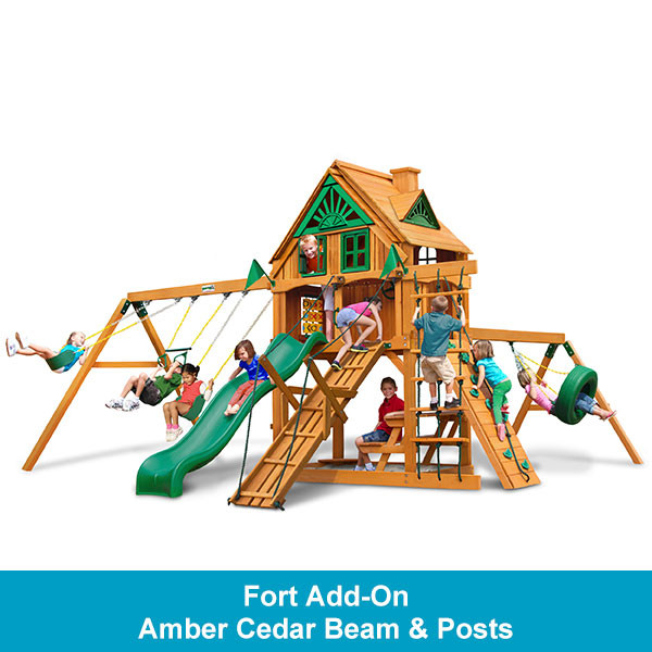 Gorilla Playsets Frontier Treehouse with Fort Add-On - Amber Cedar Beam & Posts