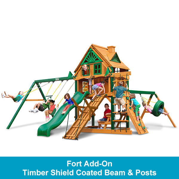 Gorilla Playsets Frontier Treehouse with Fort Add-On - Timber Shield Beam & Posts