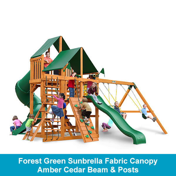 Gorilla Playsets Great Skye I Forest Green Sunbrella Fabric Canopy - Amber Cedar Beam & Posts