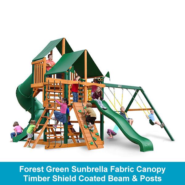 Gorilla Playsets Great Skye I Forest Green Sunbrella Fabric Canopy - Timber Shield Beam & Posts