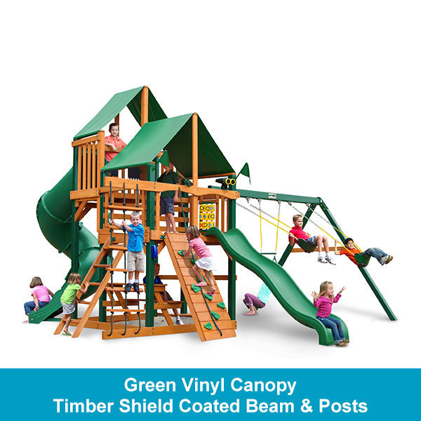 Gorilla Playsets Great Skye I Green Vinyl Canopy - Timber Shield Beam & Posts