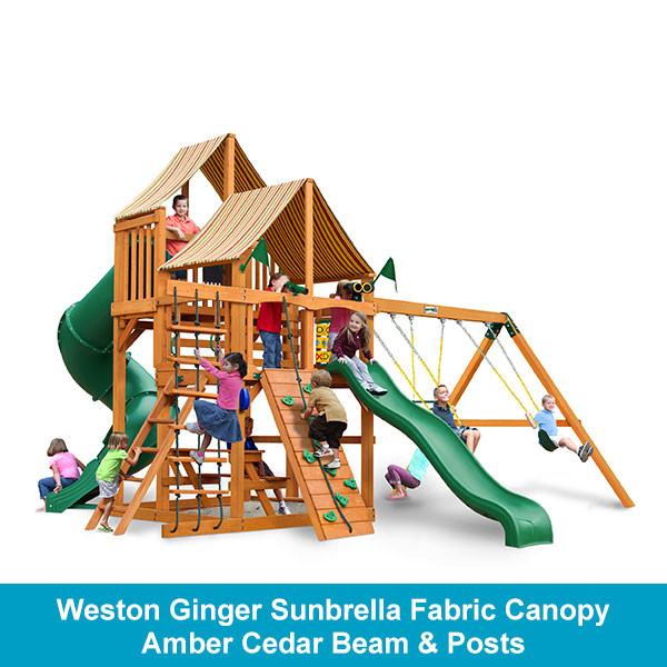 Gorilla Playsets Great Skye I Weston Ginger Sunbrella Fabric Canopy - Amber Cedar Beam & Posts