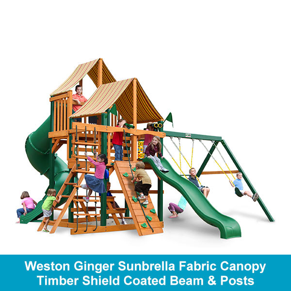 Gorilla Playsets Great Skye I Weston Ginger Sunbrella Fabric Canopy - Timber Shield Beam & Posts