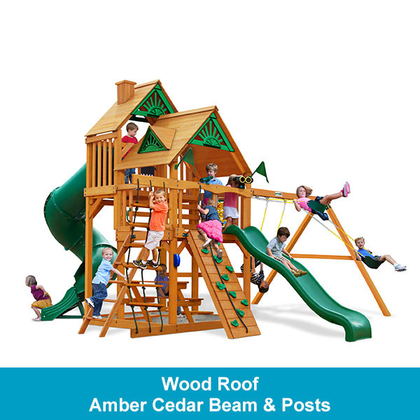 Gorilla Playsets Great Skye I Wood Roof - Amber Cedar Beam & Posts