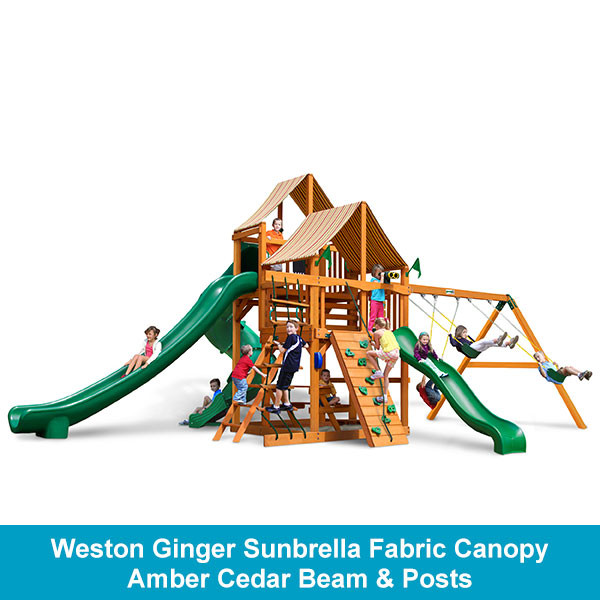 Gorilla Playsets Great Skye II Weston Ginger Sunbrella Fabric Canopy - Amber Cedar Beam & Posts