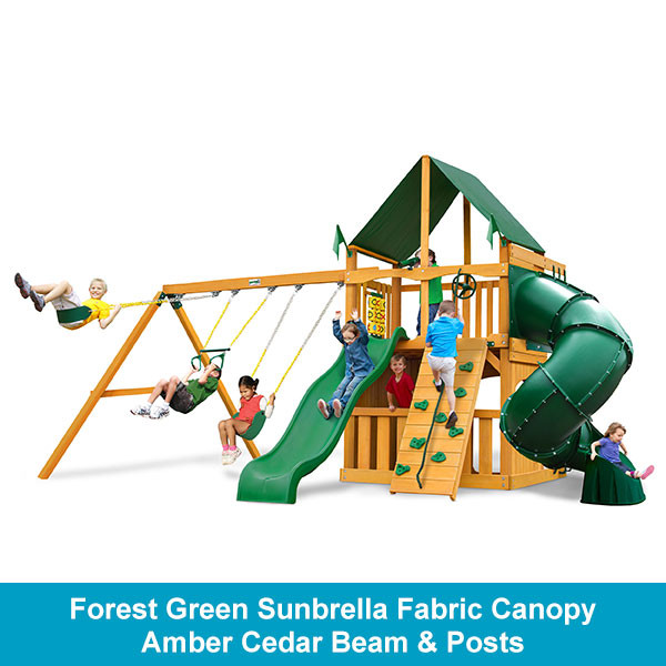 Gorilla Playsets Mountaineer Clubhouse Forest Green Sunbrella Fabric Canopy - Amber Cedar Beam & Posts
