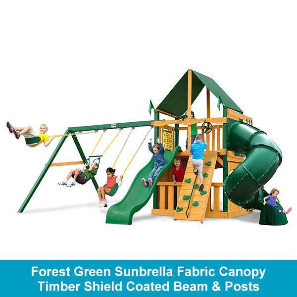 Gorilla Playsets Mountaineer Clubhouse Forest Green Sunbrella Fabric Canopy - Timber Shield Beam & Posts