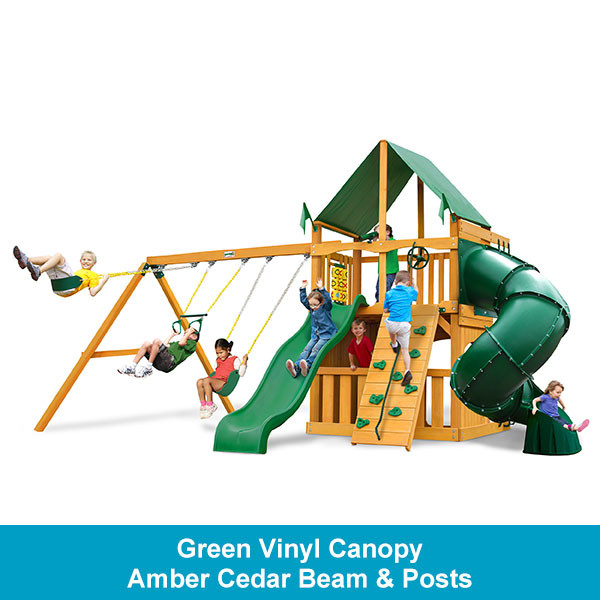 Gorilla Playsets Mountaineer Clubhouse Green Vinyl Canopy - Amber Cedar Beam & Posts