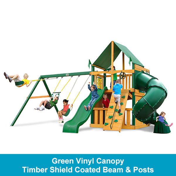 Gorilla Playsets Mountaineer Clubhouse Green Vinyl Canopy - Timber Shield Beam & Posts