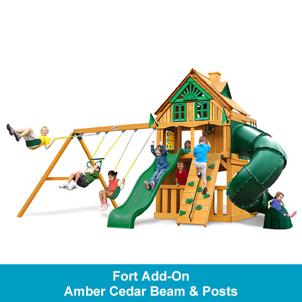 Gorilla Playsets Mountaineer Clubhouse Treehouse with Fort Add-On - Amber Cedar Beam & Posts