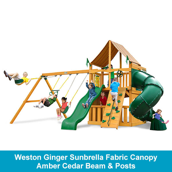 Gorilla Playsets Mountaineer Clubhouse Weston Ginger Sunbrella Fabric Canopy - Amber Cedar Beam & Posts
