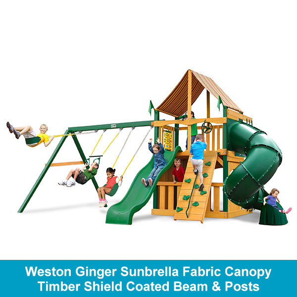 Gorilla Playsets Mountaineer Clubhouse Weston Ginger Sunbrella Fabric Canopy - Timber Shield Beam & Posts