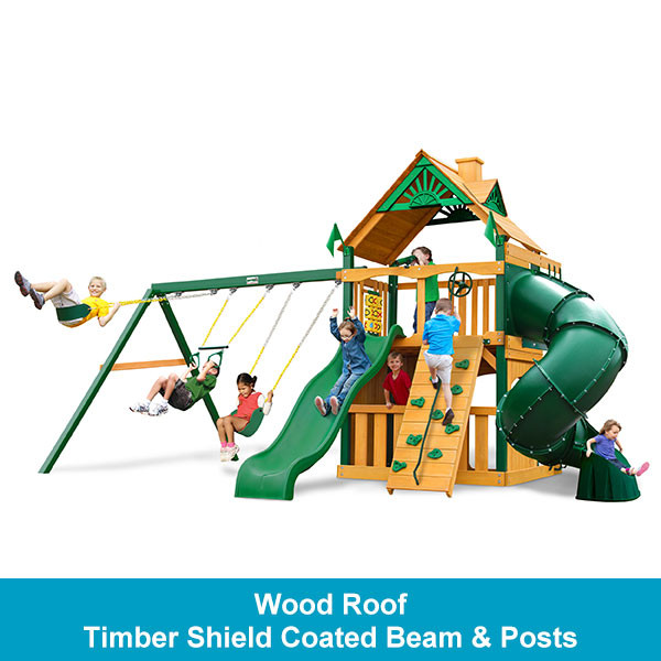 Gorilla Playsets Mountaineer Clubhouse Wood Roof - Timber Shield Beam & Posts