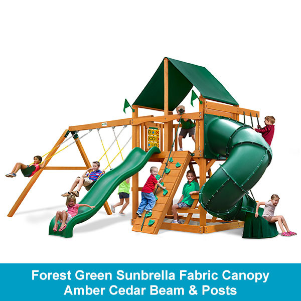 Gorilla Playsets Mountaineer Forest Green Sunbrella Fabric Canopy - Amber Cedar Beam & Posts