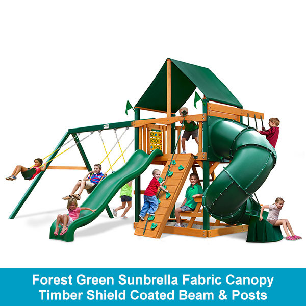 Gorilla Playsets Mountaineer Forest Green Sunbrella Fabric Canopy - Timber Shield Beam & Posts