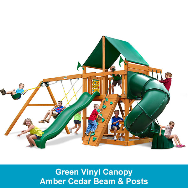 Gorilla Playsets Mountaineer Green Vinyl Canopy - Amber Cedar Beam & Posts