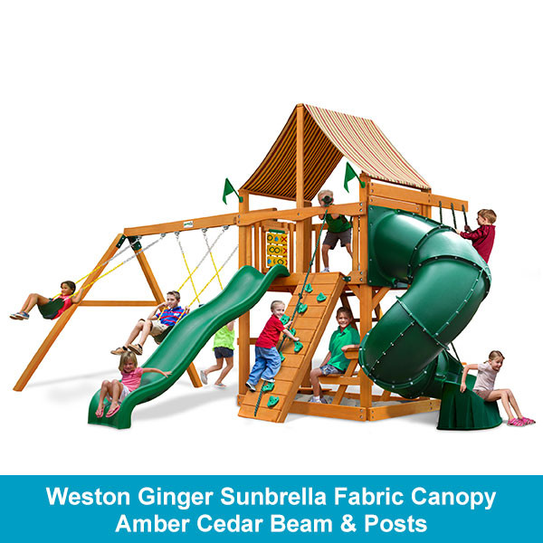 Gorilla Playsets Mountaineer Weston Ginger Sunbrella Fabric Canopy - Amber Cedar Beam & Posts