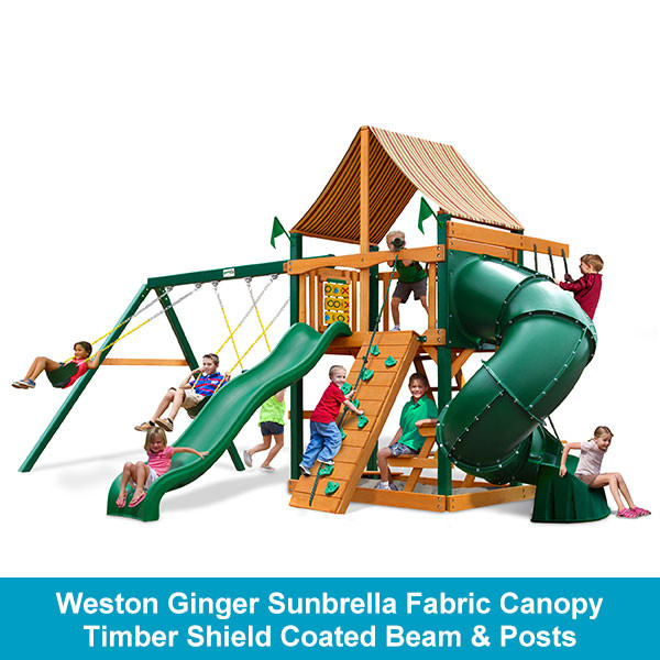Gorilla Playsets Mountaineer Weston Ginger Sunbrella Fabric Canopy - Timber Shield Beam & Posts