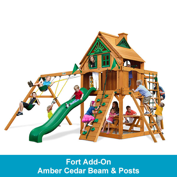 Gorilla Playsets Navigator Treehouse with Fort Add-On - Amber Cedar Beam & Posts