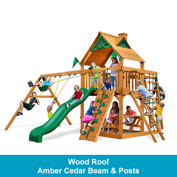 Gorilla Playsets Navigator Wood Roof - Amber Cedar Beam & Posts