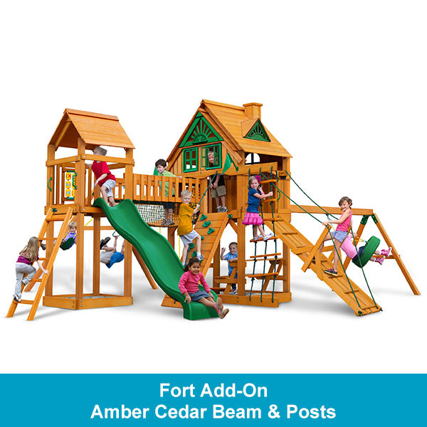 Gorilla Playsets Pioneer Peak Treehouse with Fort Add-On - Amber Cedar Beam & Posts