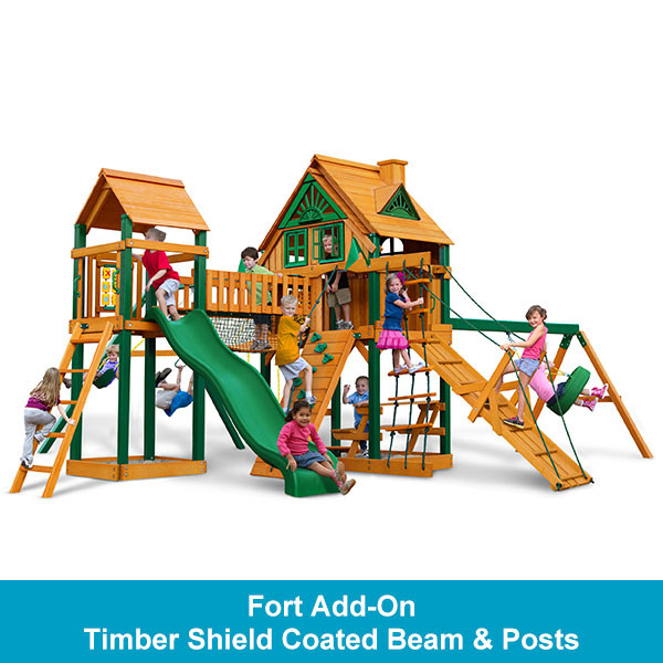 Gorilla Playsets Pioneer Peak Treehouse with Fort Add-On - Timber Shield Beam & Posts