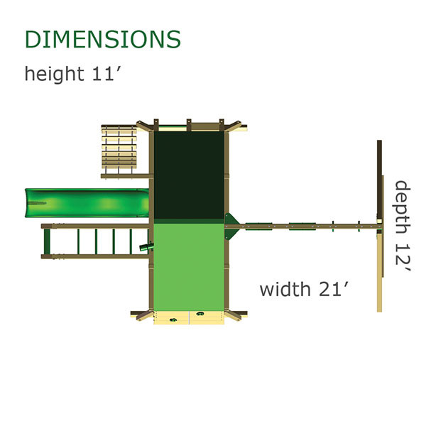 Gorilla Playsets Sun Climber II Dimensions