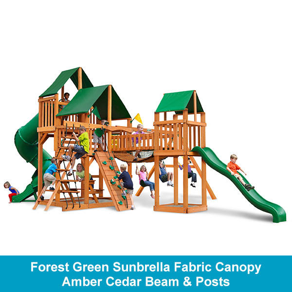 Gorilla Playsets Treasure Trove Forest Green Sunbrella Fabric Canopy - Amber Cedar Beam & Posts