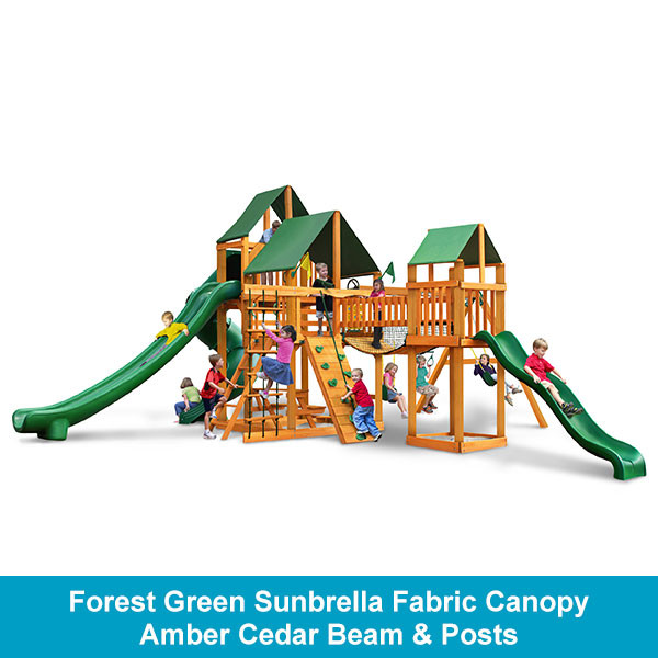 Gorilla Playsets Treasure Trove II Forest Green Sunbrella Fabric Canopy - Amber Cedar Beam & Posts
