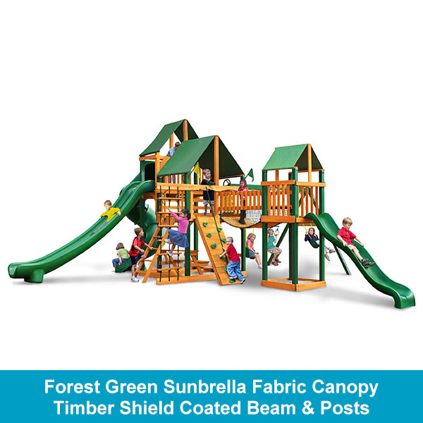 Gorilla Playsets Treasure Trove II Forest Green Sunbrella Fabric Canopy - Timber Shield Beam & Posts