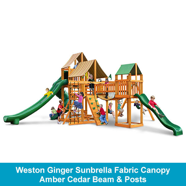 Gorilla Playsets Treasure Trove II Weston Ginger Sunbrella Fabric Canopy - Amber Cedar Beam & Posts