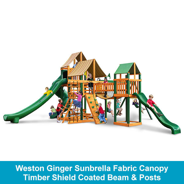 Gorilla Playsets Treasure Trove II Weston Ginger Sunbrella Fabric Canopy - Timber Shield Beam & Posts