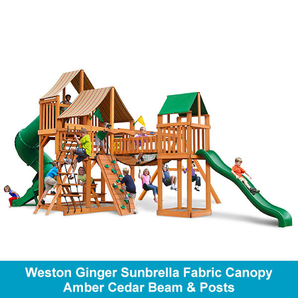 Gorilla Playsets Treasure Trove Weston Ginger Sunbrella Fabric Canopy - Amber Cedar Beam & Posts